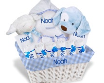 Personalized Baby Gift Basket, Baby Boy Gift Basket - 2 Bibs, 6 Burp Cloths, Towel Set, Onesie, Robe, 2 Plush - Extra Large(A)