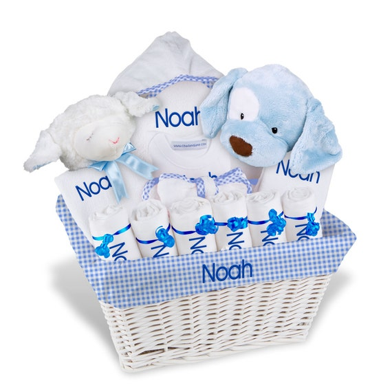 Personalized baby gift basket boy bibs