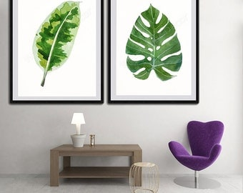 Tropical Leaf Watercolor Art Prints - Set of 2 Green Leaves Prints- Palm Leaf Botanical Art Wall Decor Office Decor Birthday Gift