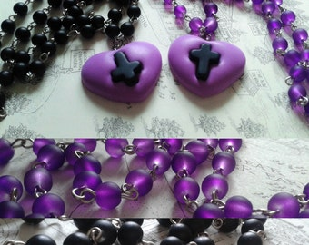 Purple and Black Pastel Goth Cross Heart Necklace, Upright or inverted Cross with black or Purple Beaded Rosary style chain.