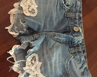 Refashioned denim shorts