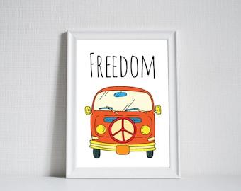 Hippie Van, Hippie Print, Van Poster, Van Wall Art, Peace Poster, Hippie Poster, Gifts, Wall Decor, Printable Wall Art, Instant Download