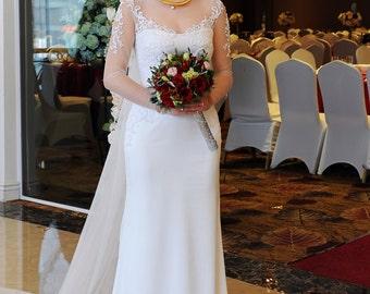 LS 18/ Lysun/ Snow white / Mermaid / silk wedding dress