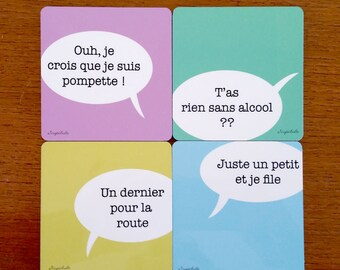 4 wooden customizable pastel coloured coasters  - The aperitif clichés - 4 typical french sentences from parties with friends