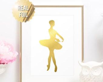 Ballerina Art Print - REAL GOLD FOIL - Ballet Dancer Poster - Dance Art - Gold Foil Ballerina - Ballet Art Work - Nursery Art - Dance Print