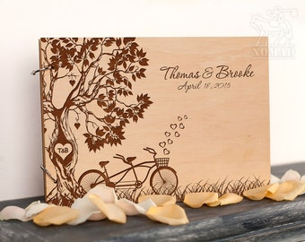 Wedding Guest Book, Rustic Custom Guest Book, Wedding Keepsake, Tandem Bike Laser Engraved, Bridal Shower, tree wedding guestbook, Weddings