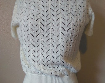Vintage 50s/60s Sweater, Open Knit Sweater, Short Sleeve Sweater,