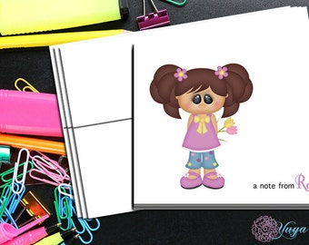 Personalized Girl Note Cards / Custom spring Stationery / Girl Stationery Set / Girl Thank You Cards / Set of 12 girl Note Cards