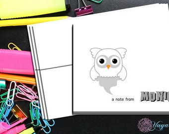 Halloween Personalized owl ghost Note Card / Custom owl Stationery / Halloween Stationery Set / Custom Thank You Cards / Set of 12 Notes