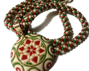 Cute Christmas Ornament Pendant On A Matching Kumihimo Necklace
