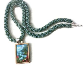 Island Canvas Print Pendant On A Kumihimo Necklace