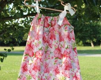 Girls Pink Floral Pillowcase Dress Size 9m - 1 yr