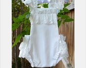 White / Cream / Off White / Ivory / Lace / Ruffle Trim / Baby Romper / Playsuit