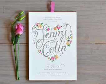 Floral Evening Wedding Invitation in Dusty Pink & Peach