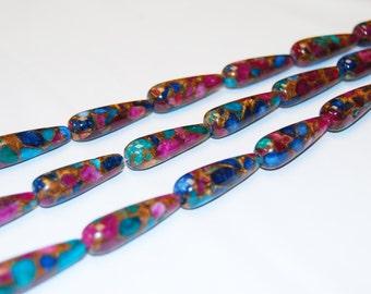 Mosaic Quartz Gemstone Tear Drop Loose Beads Multi Color 15.5'' mLong Size 10x30mm. I-COM-0055
