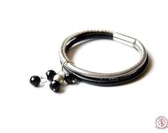 Onyx leather charm bracelet