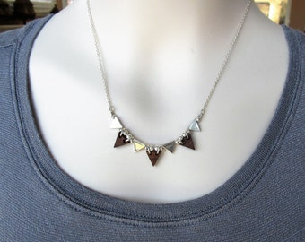 Geometric Necklace, On Trend Choker, Wood Jewelry, Sterling Silver Necklace, Jewelry Gift Ideas, Bridesmaids Necklace, Edgy Jewelry, Modern