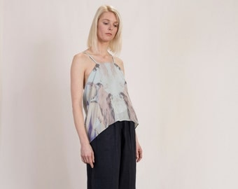 draped silk top with abstract print and Mulberry silk lining, sustainable designer blouse, flowing organic silk