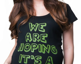 Maternity T-Shirt Birth Announcement Top We Are Hoping It's A Dinosaur Pregnancy Tee Shirt Baby Shower Tee Shirt