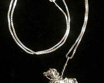 """Delightful Sterling Silver 20"""" Chain Necklace with Carousel Horse Pendant"""