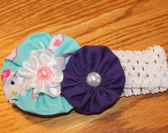 Hello Kitty Headband, Purple, blue, yoyos,  Yoyo Headband,  Crocheted headband,  Handsewn Yoyos, Baby headband, Hair Accessory, Crocheted