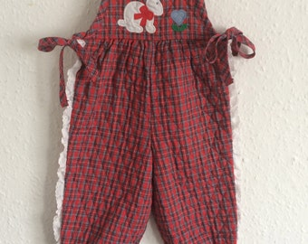 Rare Vintage Kids Quilted Ellen Miklas Dungarees - Age 1 to 2 years