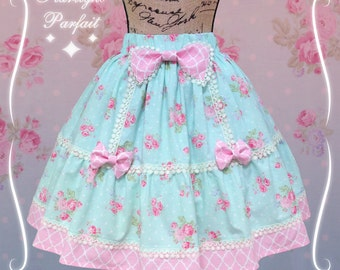 Radiant Rose Garden | Kawaii Skirt | Sweet Lolita Skirt | Harajuku Street Fashion | Pink and Mint | Made To Order |