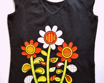 Womens sunflower top floral t-shirt sunflower tee black cotton tshirt black tank top vintage 1980s 80s size S Small