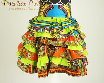 Dashiki Mini Ruffle Skirt Multi Color Ruffle Skirt Bachata Dance Skirt Salsa Dance Skirt Merengue Dance Skirt Latin Dance Ankara Mini Skirt