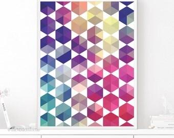 Geometric Print, Geometric Wall Art, Hexagon Print, Colorful Wall Art, Colorful Decor, Printable Art, Digital Download, Wall Art Printable