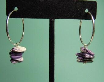Wampum Chip Earrings 25 MM Sterling Silver Hoops