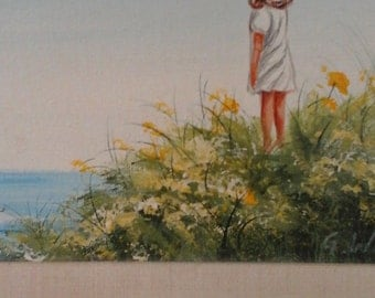 Original oil painting little girl balloon 1950s