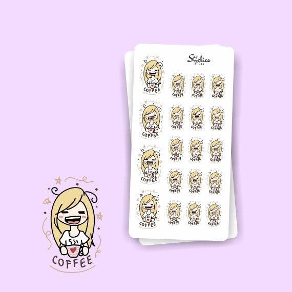 Calendar Planner For Laptop : Coffee addict blonde sarah planner stickers hand drawn