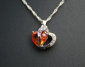 Tangerine orange Rhinestone Necklace with Singapore styled link chain.