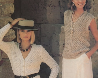 Ladies Cardigan and Slipover Knitting Pattern : Womens 32 34 36 38 and 40 inch bust . 81 86 91 97 and 102 cm chest - PDF Instant Download