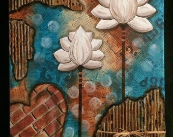 Heart & Flowers 3, mixed media acrylic art on canvas