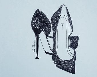 Pen & Ink, Fashion Illustration, heels, Gucci heels, shoes, shoe art, Ink Drawing, fashion, drawing, high fashion, fashion drawing, wall art