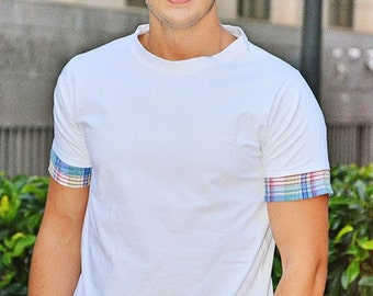 Long white t-shirt with low shirt pictures