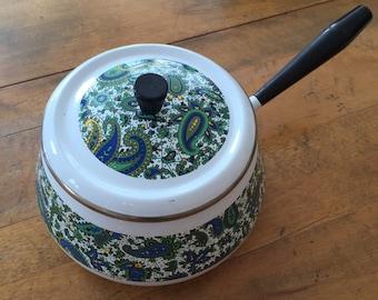 70's Paisley Enamel Pot