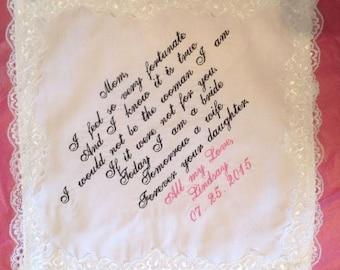 Personalize Wedding Keepsake Handkerchiefs Mother of the bride/Mother in law