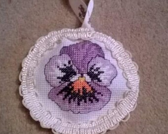 Pansy flower crostitched hanging gift