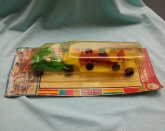 Truck with trailer and car with blister unused 70s