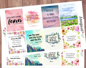 watercolor bible planner stickers| bible verse stickers| scripture planner stickers| bible stickers| motivational stickers| Q0004