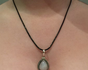 Rainbow Moonstone 925 Sterling Silver Pendant Necklace