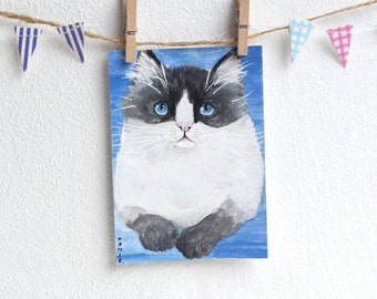Ragdoll Cat Painting Seal Bicolour ACEO Original Card by Natalie Heaven - 'What's up there?' OOAK Fluffy Cat