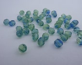 4mm Fire Polished Beads Soft Green and Blue x 50
