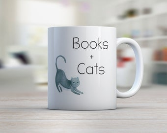 Books and Cats Mug Ceramic Mug Book Lover Gift Book Gift Cat Gift