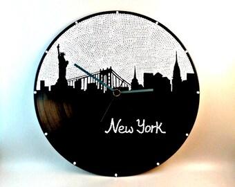 Wall clock, New York, Vinyl clock, New York city skyline, NYC clock, Wall art, Home Decor, MiniDotClocks