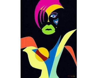 Modern Art Face Giclee Print Limited Edition