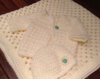 Full Set baby crochet cardigan, hat and blanket
